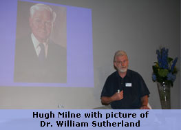 Hugh Milne with picture of Dr. William Sutherland
